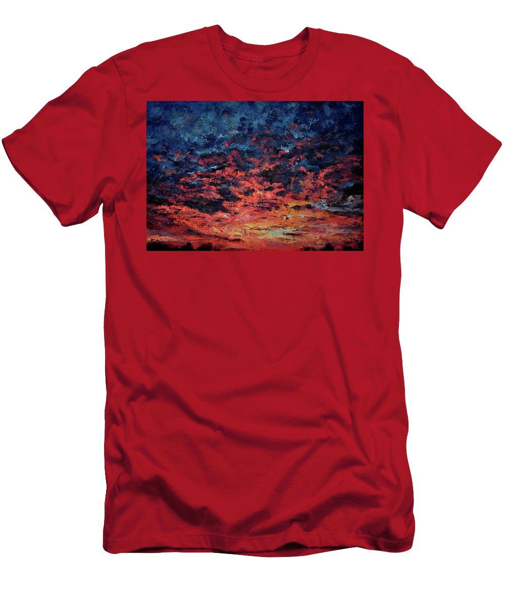 Red Men's T-Shirt (Athletic Fit) featuring the painting Purple Sun by Tetiana Korol