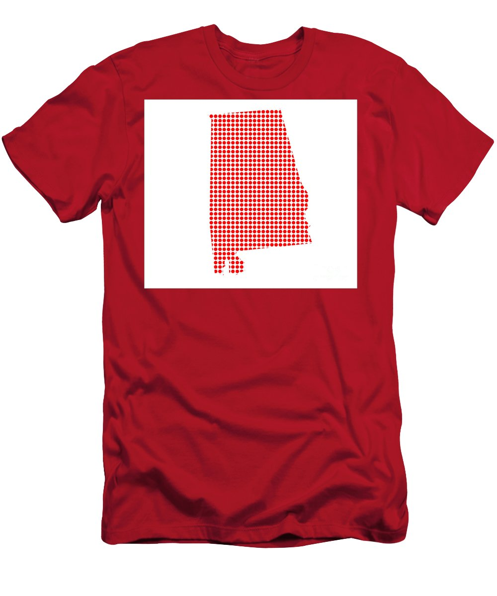 Alabama Men's T-Shirt (Athletic Fit) featuring the digital art Red Dot Map Of Alabama by Bigalbaloo Stock