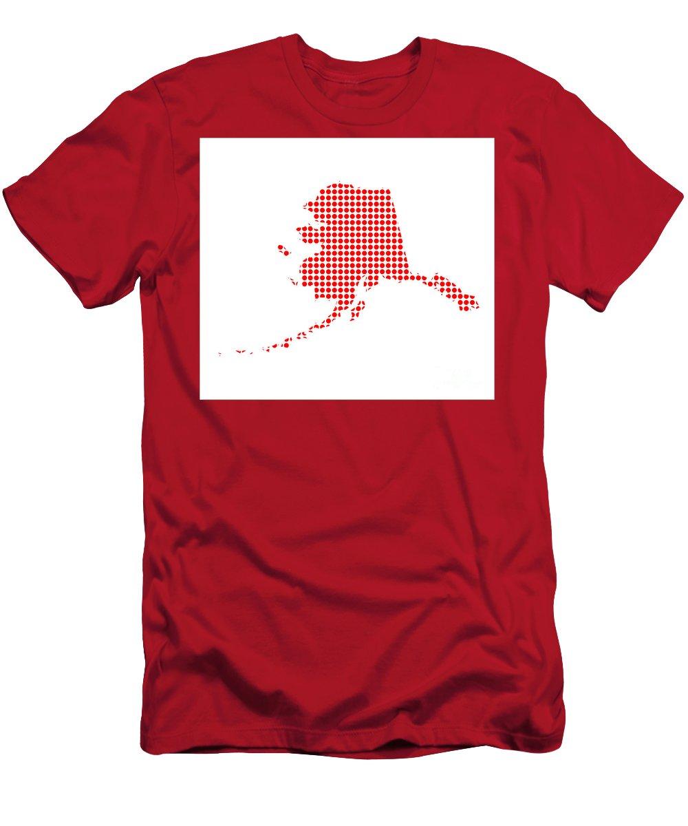 Alaska Men's T-Shirt (Athletic Fit) featuring the digital art Red Dot Map Of Alaska by Bigalbaloo Stock