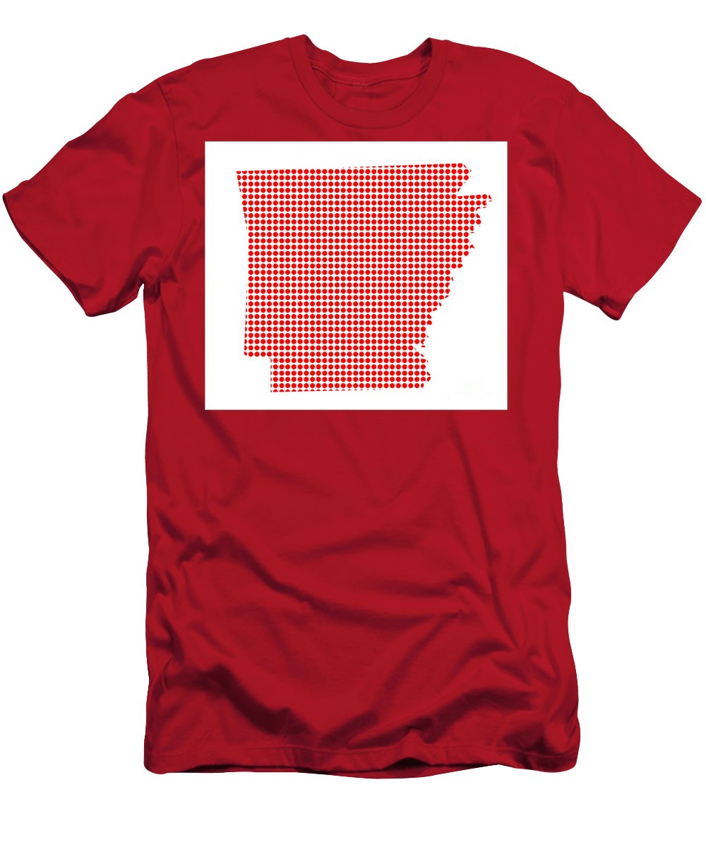 Arkansas Men's T-Shirt (Athletic Fit) featuring the digital art Red Dot Map Of Arkansas by Bigalbaloo Stock