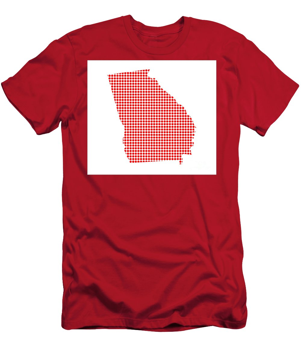 Georgia Men's T-Shirt (Athletic Fit) featuring the digital art Red Dot Map Of Georgia by Bigalbaloo Stock