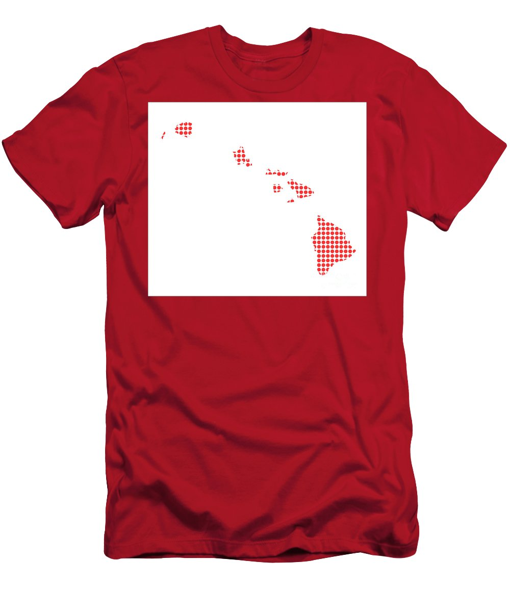 Hawaii Men's T-Shirt (Athletic Fit) featuring the digital art Red Dot Map Of Hawaii by Bigalbaloo Stock
