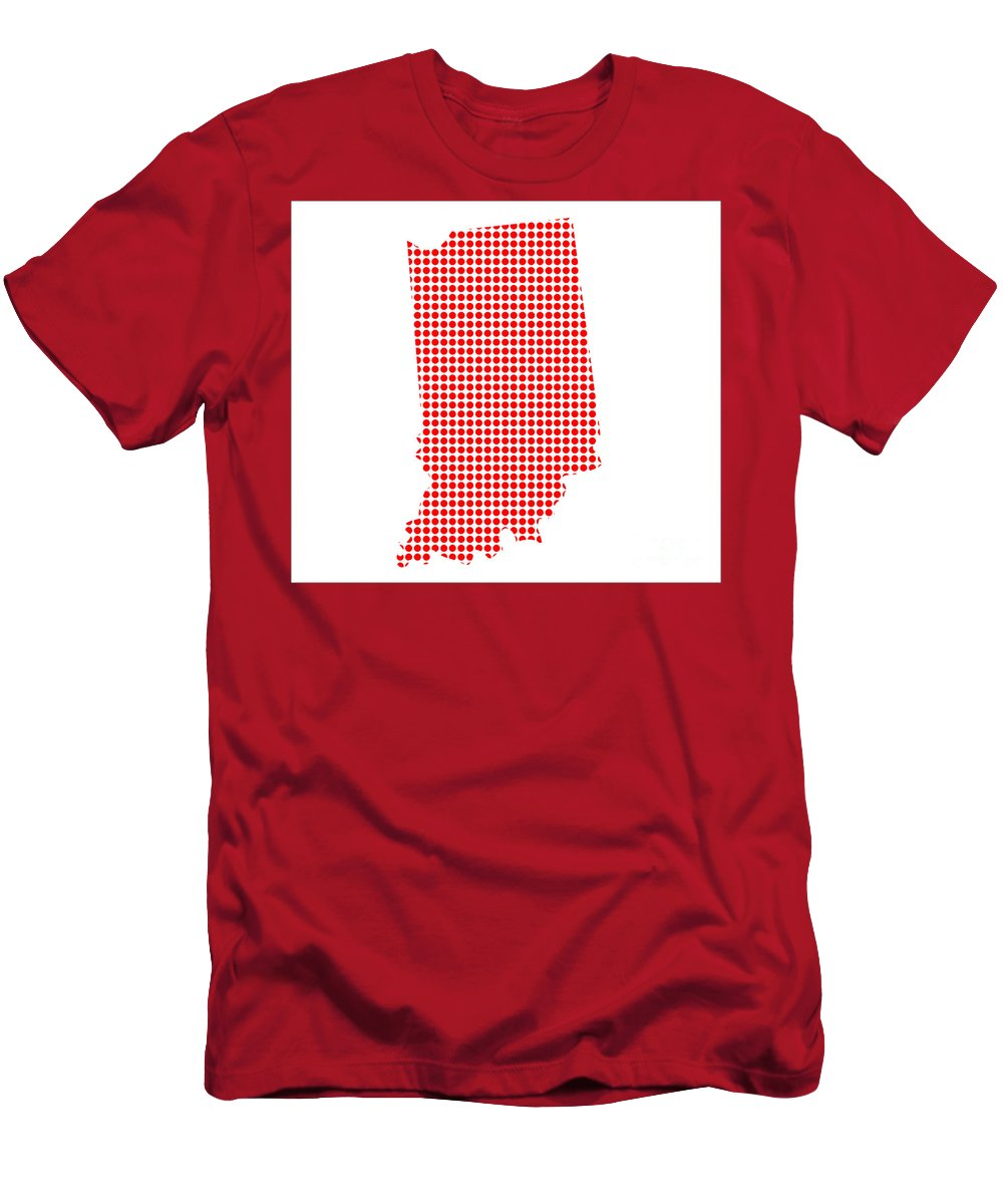 Indiana Men's T-Shirt (Athletic Fit) featuring the digital art Red Dot Map Of Indiana by Bigalbaloo Stock