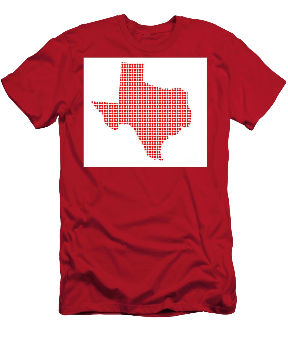 Texas Men's T-Shirt (Athletic Fit) featuring the digital art Red Dot Map Of Texas by Bigalbaloo Stock