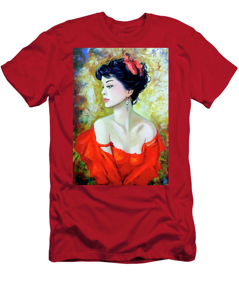 Lady T-Shirt featuring the painting Red Lady by Jose Manuel Abraham