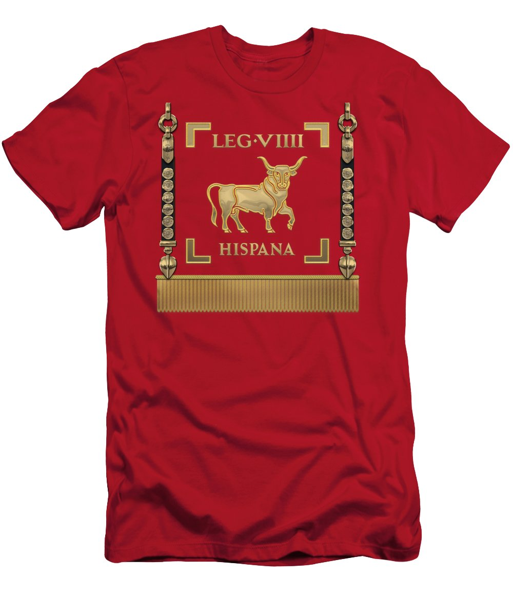 'rome' Collection By Serge Averbukh T-Shirt featuring the digital art Standard Of The Spanish 9th Legion - Vexillum Of Legio Ix Hispana by Serge Averbukh