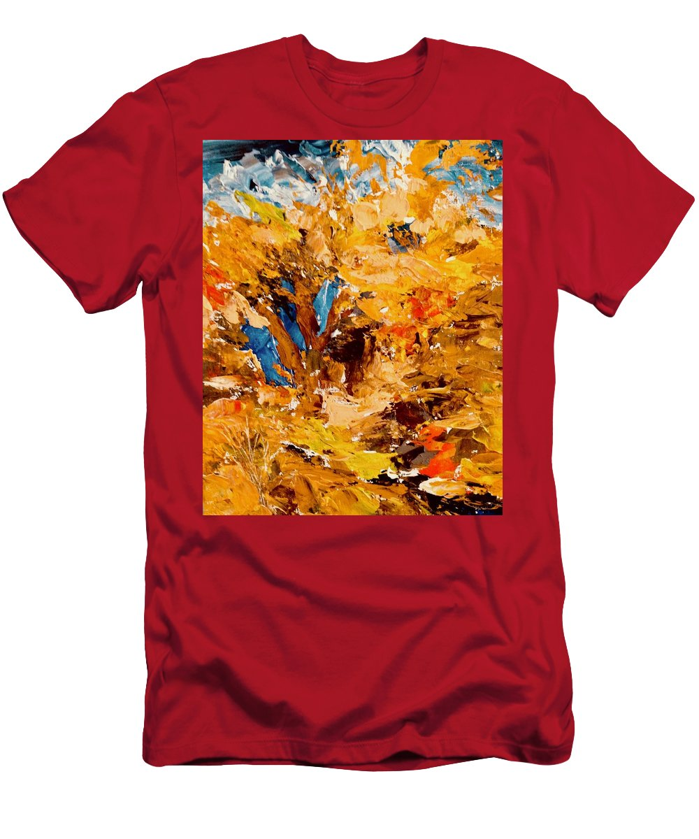 Abstract With Trees Men's T-Shirt (Athletic Fit) featuring the painting Trees Having Fun by Carol Stanley