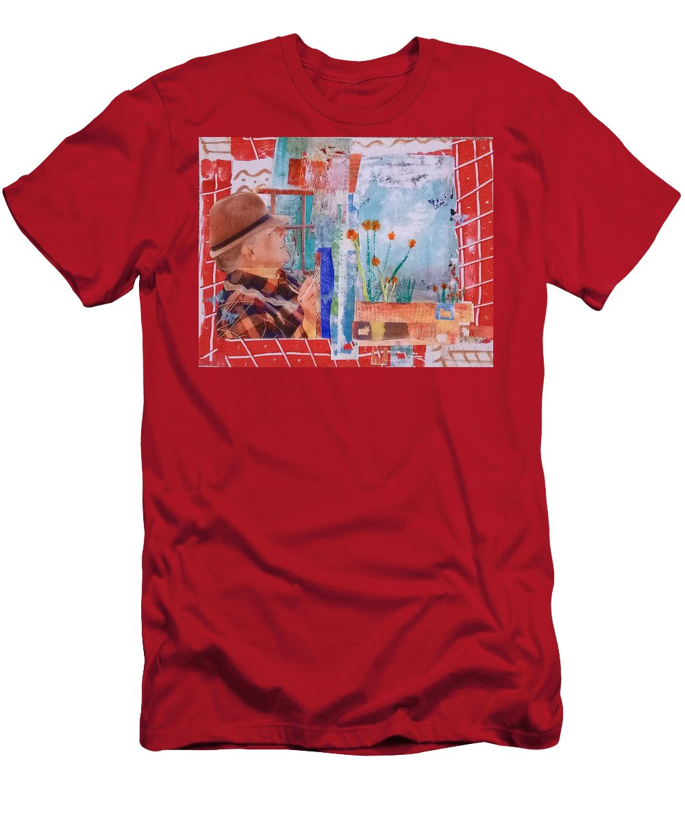 Collage Men's T-Shirt (Athletic Fit) featuring the mixed media Watching My Garden Grow by ILona Halderman