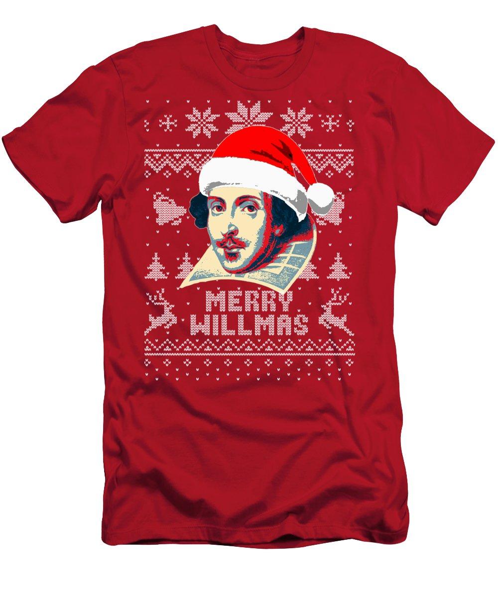 Santa T-Shirt featuring the digital art William Shakespeare Merry Willmas by Filip Hellman