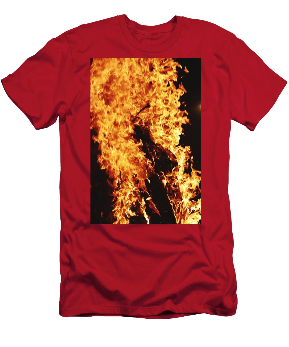 Campfire T-Shirt featuring the photograph Closeup of Fire at time of festival by Ravindra Kumar