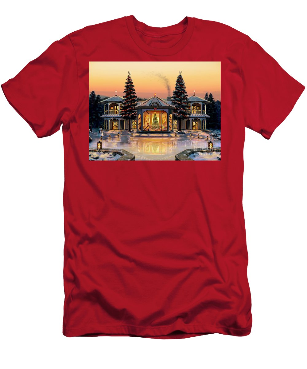 Christmas T-Shirt featuring the painting A Warm Home For The Holidays by Stu Shepherd