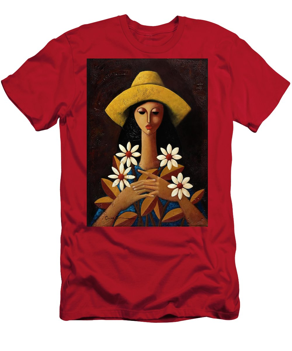 Puerto Rico T-Shirt featuring the painting Cinco Margaritas by Oscar Ortiz