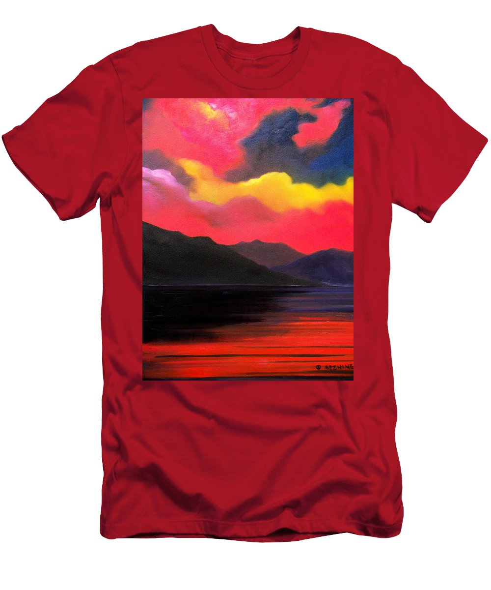 Surreal T-Shirt featuring the painting Crimson clouds by Sergey Bezhinets