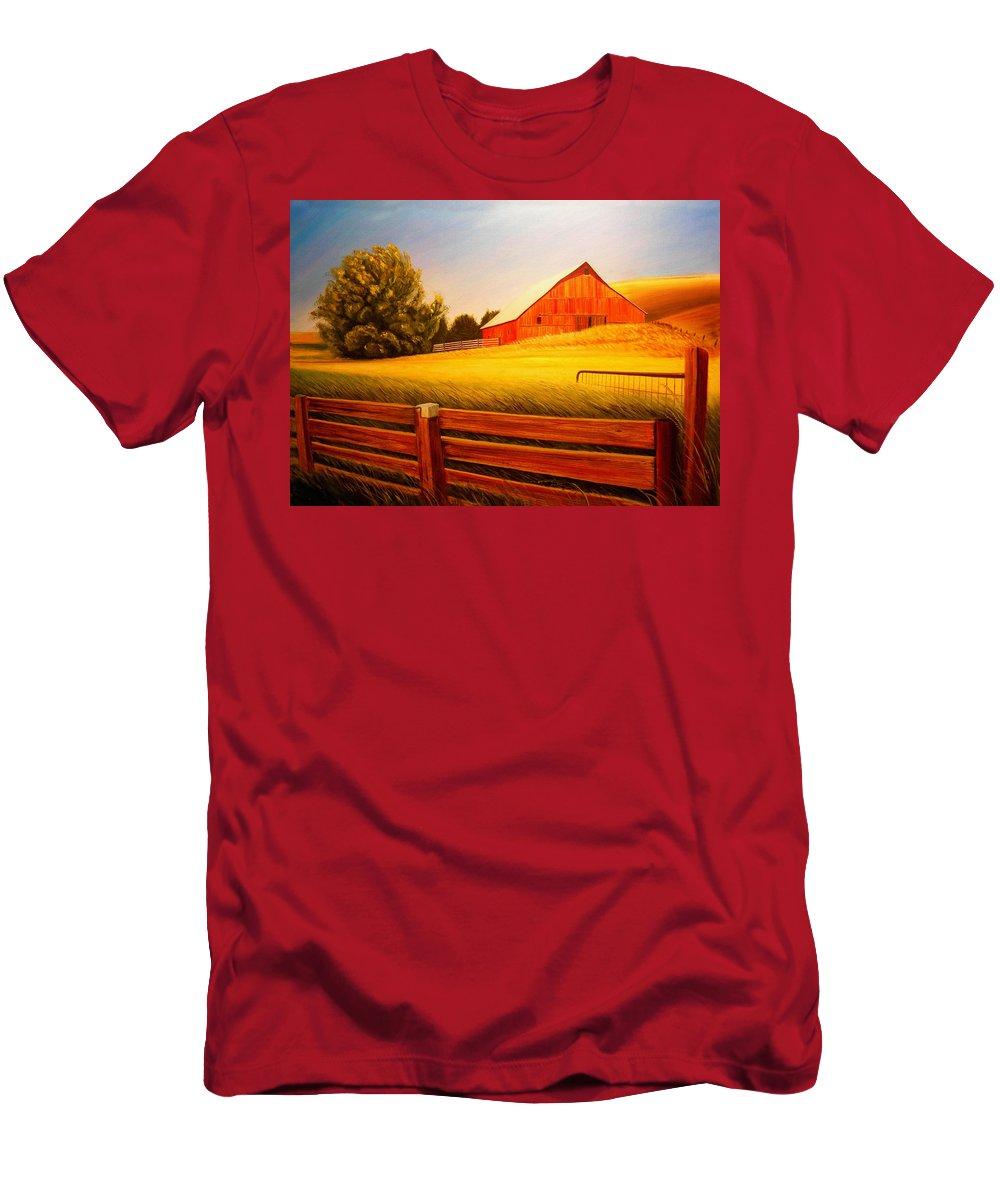 Wheat T-Shirt featuring the painting La Crosse Barn by Leonard Heid