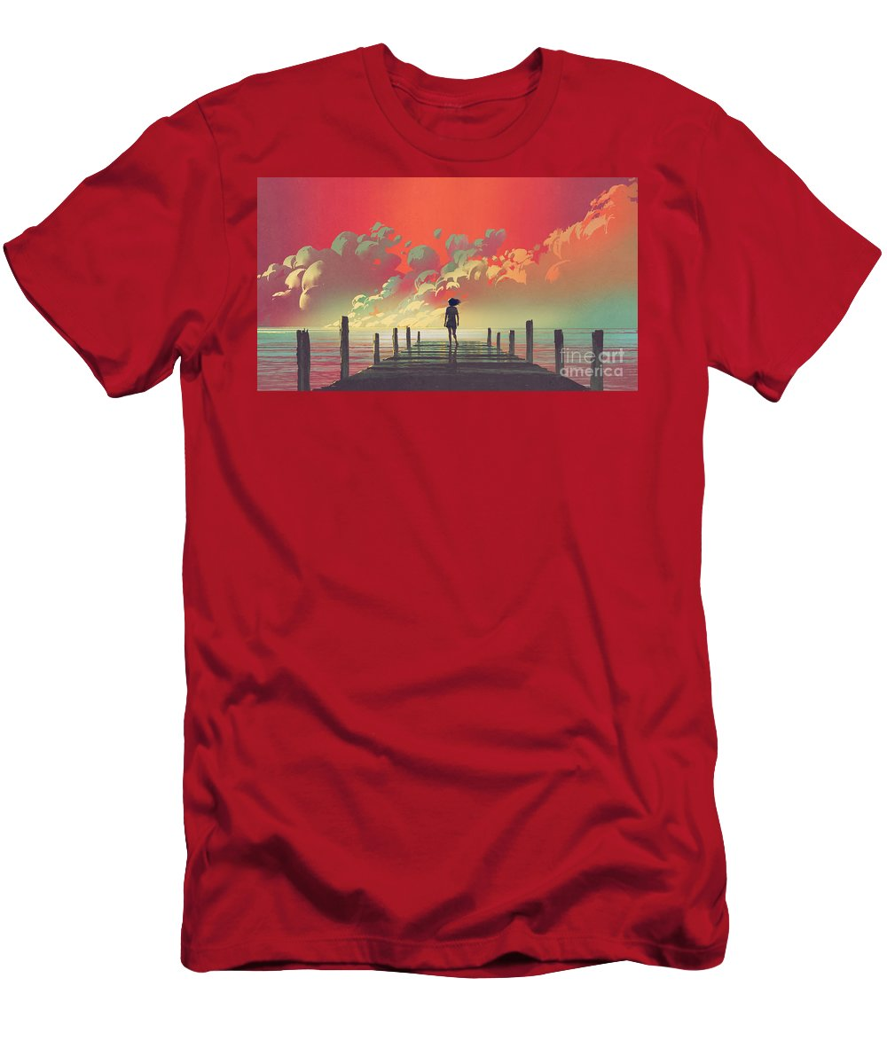 Illustration T-Shirt featuring the painting My Dream Place by Tithi Luadthong