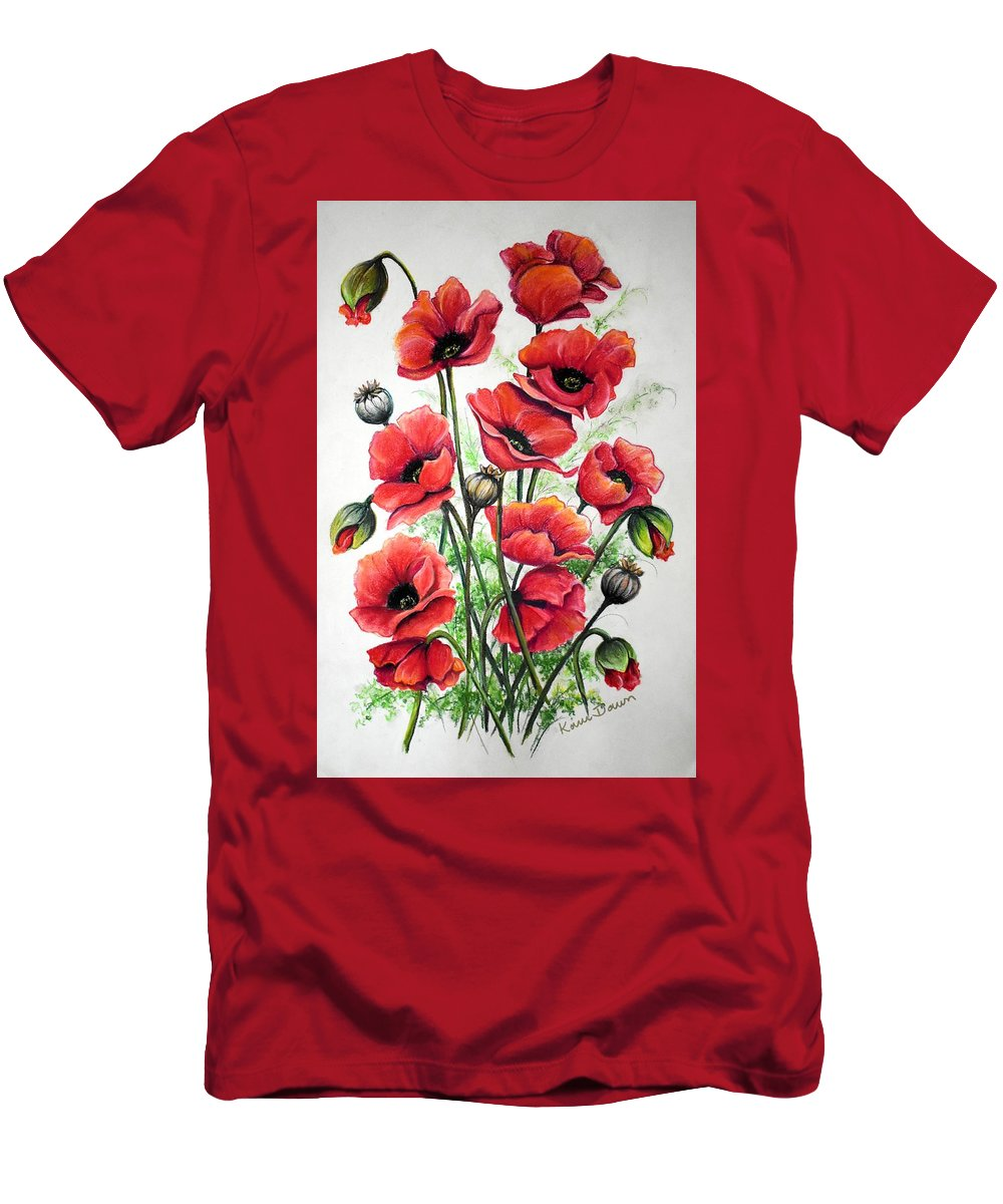 Red T-Shirt featuring the drawing Poppies In Pastel by Karin Dawn Kelshall- Best