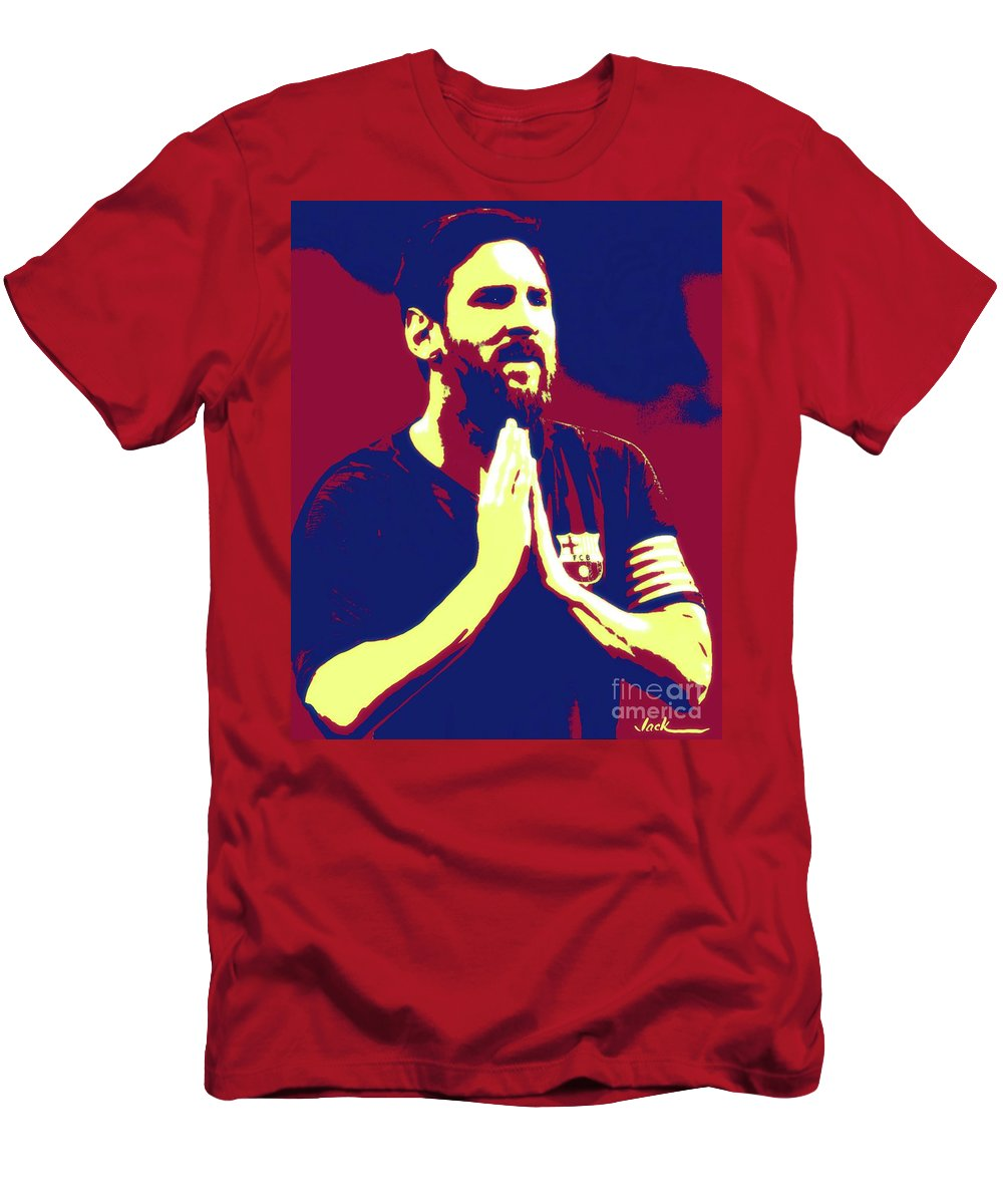 Messi T-Shirt featuring the painting Prayerful Messi by Jack Bunds