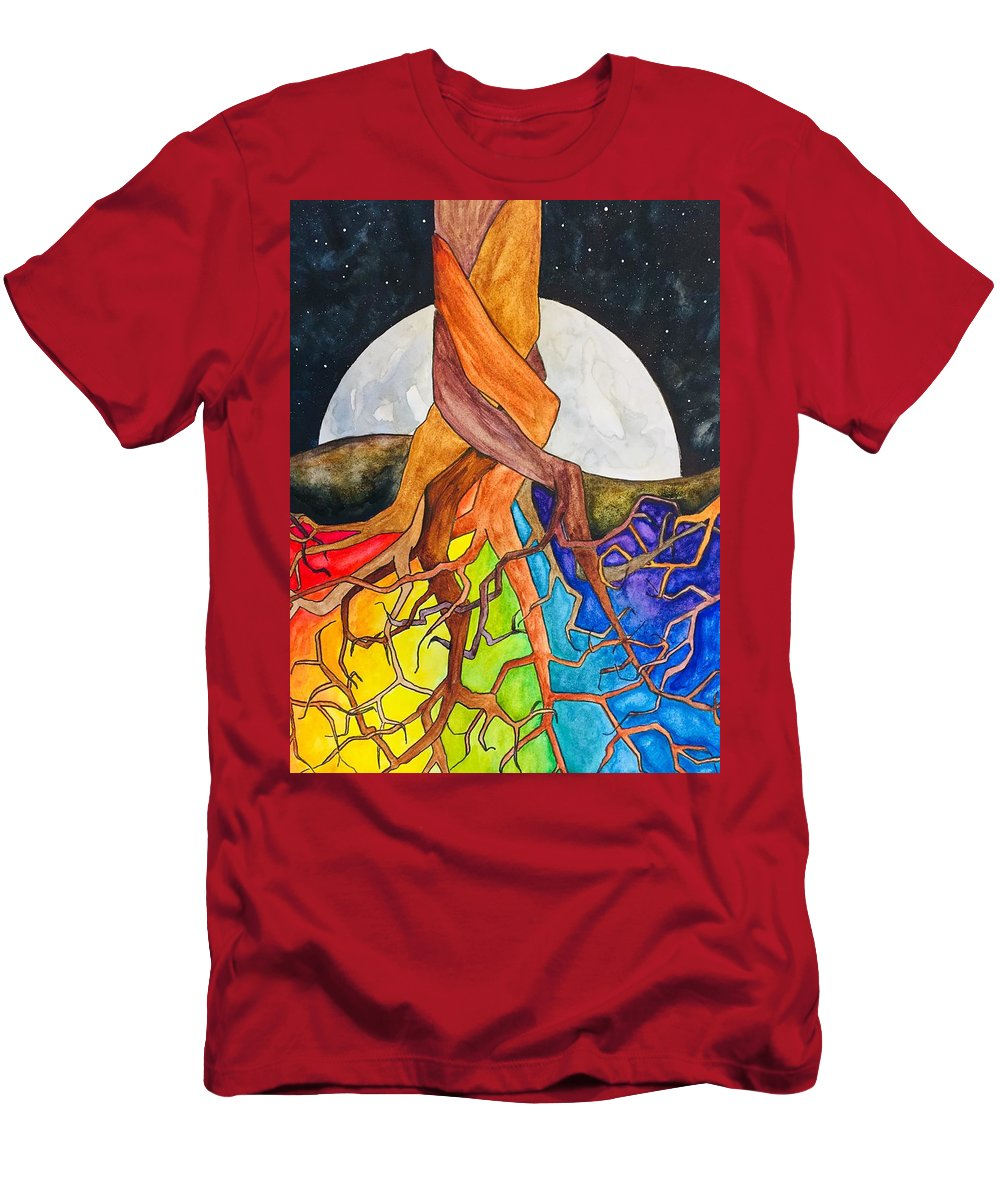 Rainbow T-Shirt featuring the painting Rainbow Soil with Moon by Vonda Drees