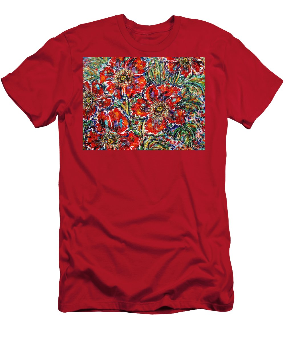 Flowers T-Shirt featuring the painting Red Fantasy Poppies by Natalie Holland