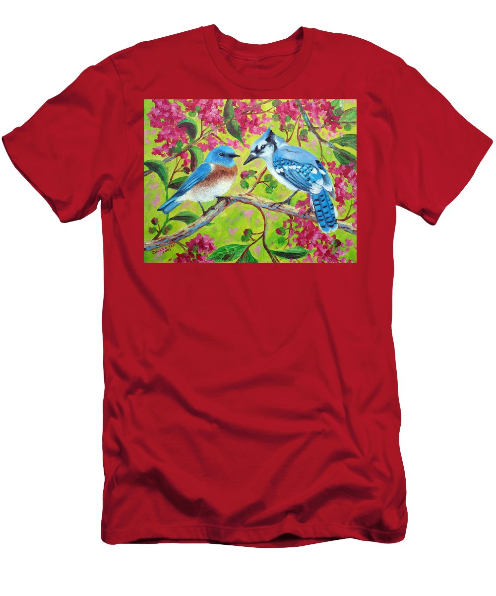 Birds T-Shirt featuring the painting Sharing A Branch by David G Paul