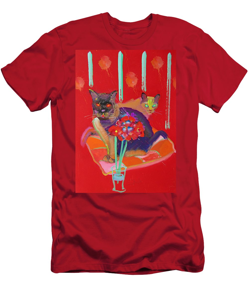 Burmese Cat T-Shirt featuring the painting Symphony In Red Two by Charles Stuart