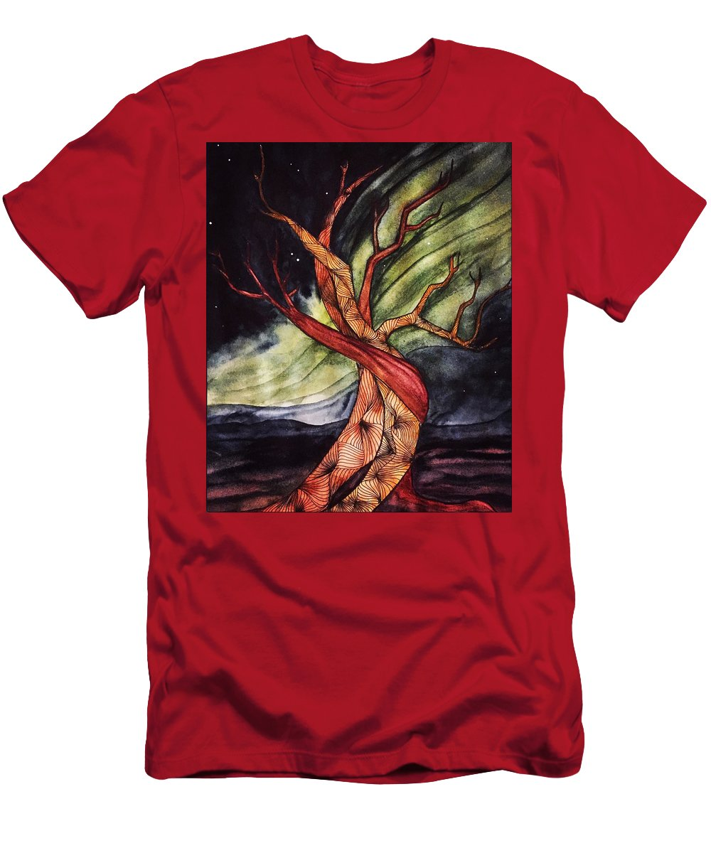 Tree T-Shirt featuring the painting Tree with Northern Lights by Vonda Drees