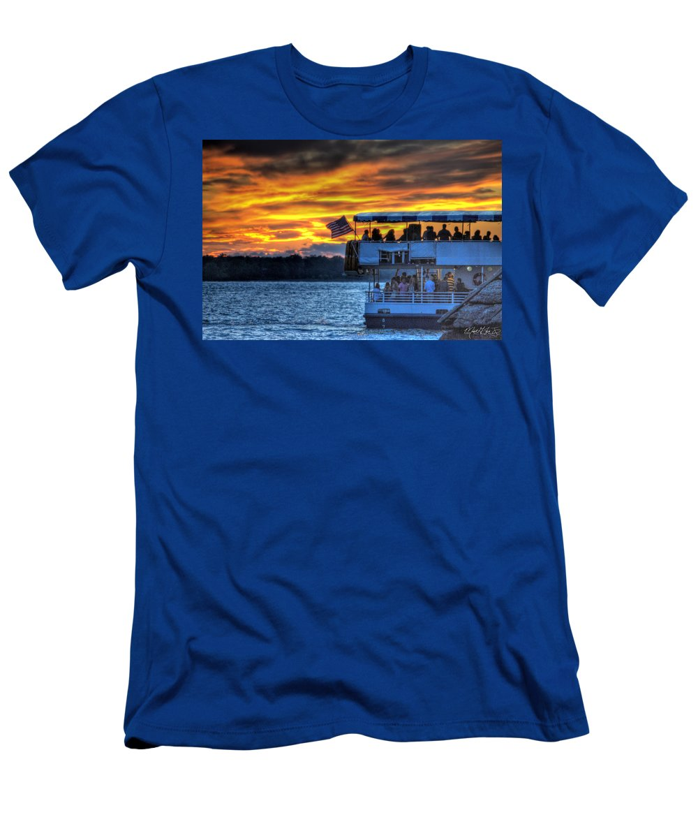 Sunset Men's T-Shirt (Athletic Fit) featuring the photograph 0019 Awe In One Sunset Series At Erie Basin Marina by Michael Frank Jr