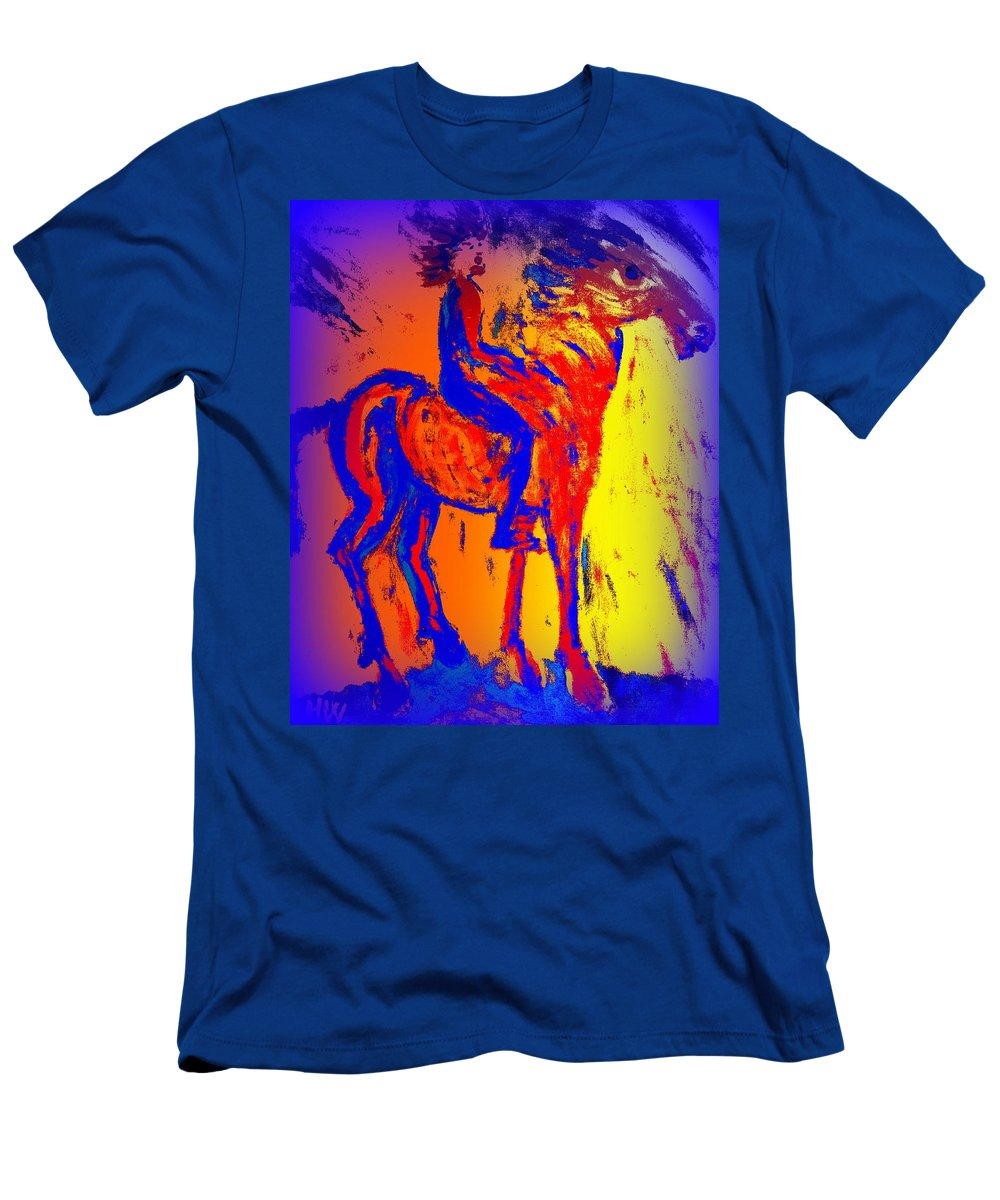Horse Men's T-Shirt (Athletic Fit) featuring the painting We Have Such A Colorful Life Together As A Team by Hilde Widerberg