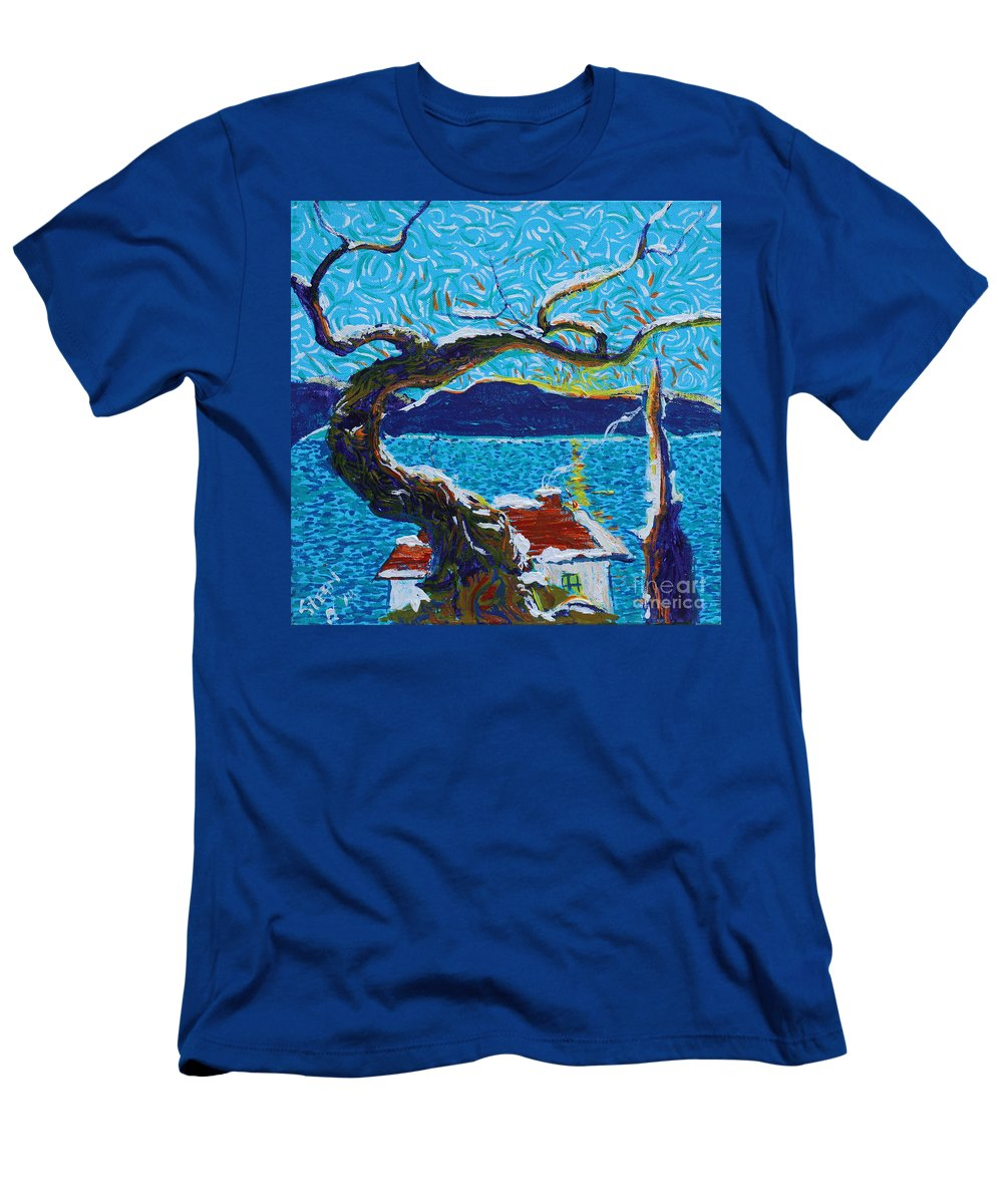 Landscape Men's T-Shirt (Athletic Fit) featuring the painting A River's Snow by Stefan Duncan