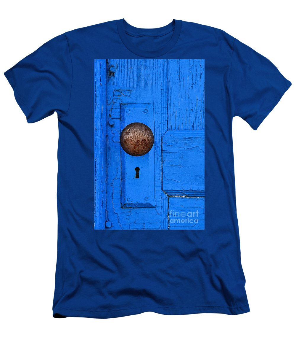 Abstract Men's T-Shirt (Athletic Fit) featuring the photograph Blue Door by Lauren Leigh Hunter Fine Art Photography