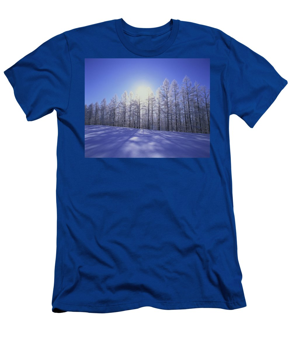 Feb0514 Men's T-Shirt (Athletic Fit) featuring the photograph Japanese Larch Hokkaido Japan by Masami Goto