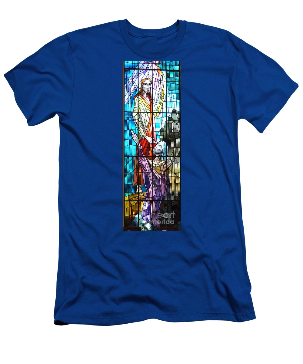 Jeasus Men's T-Shirt (Athletic Fit) featuring the photograph Jesus Healing The Blind Man by Savannah Gibbs