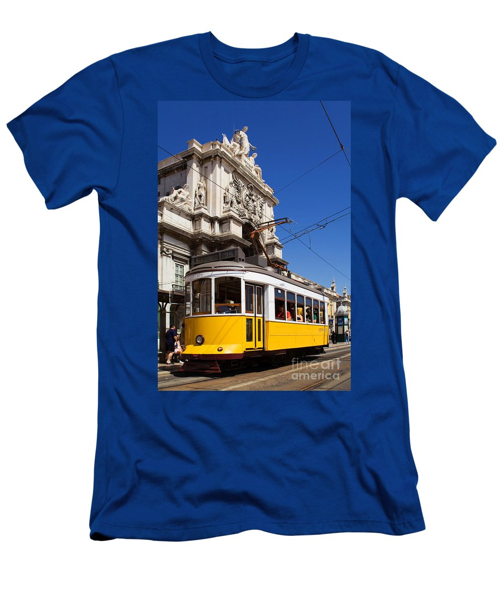 Lisbon Men's T-Shirt (Athletic Fit) featuring the photograph Lisbon's Typical Yellow Tram In Commerce Square by Jose Elias - Sofia Pereira