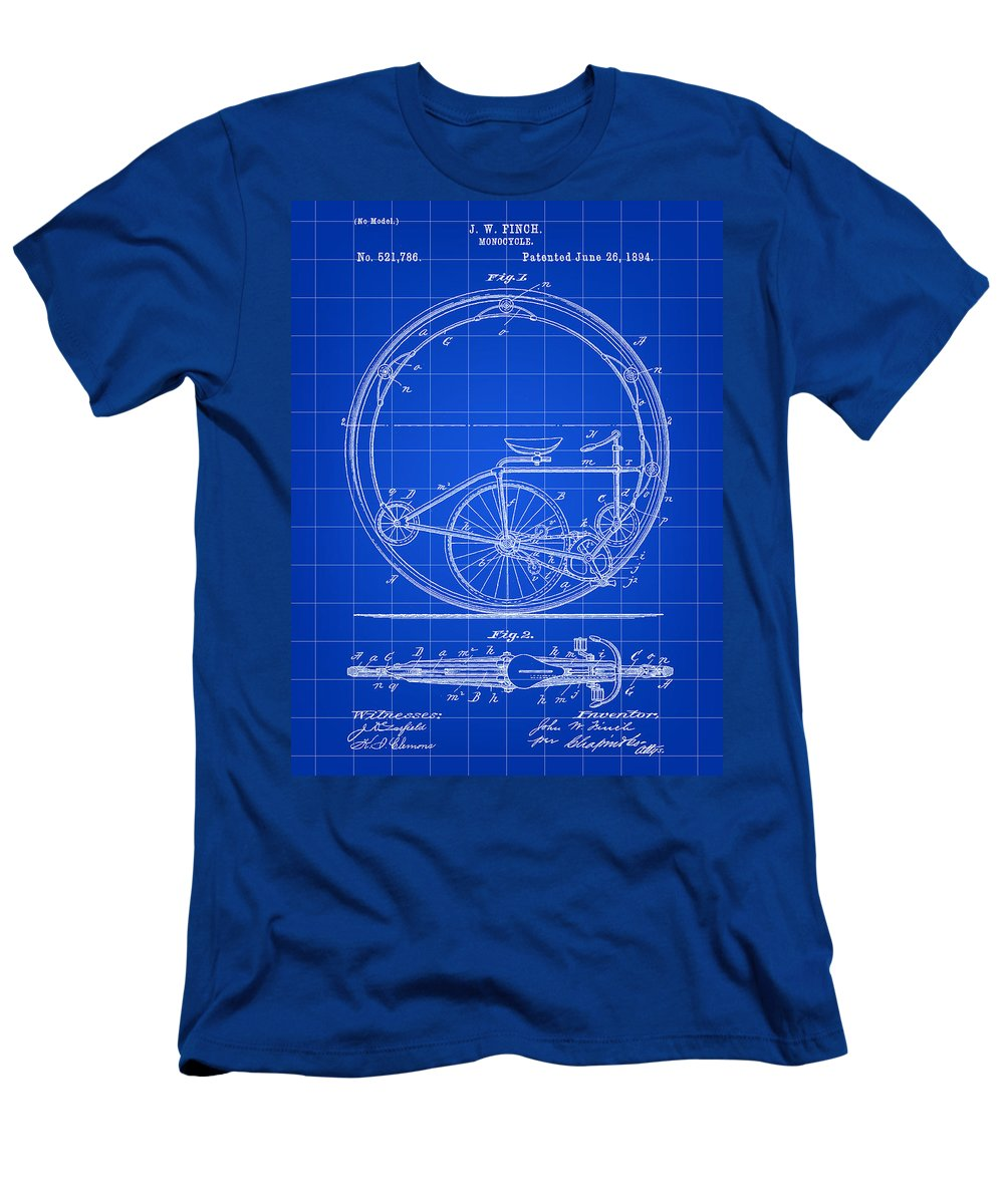 Monocycle Men's T-Shirt (Athletic Fit) featuring the digital art Monocycle Patent 1894 - Blue by Stephen Younts