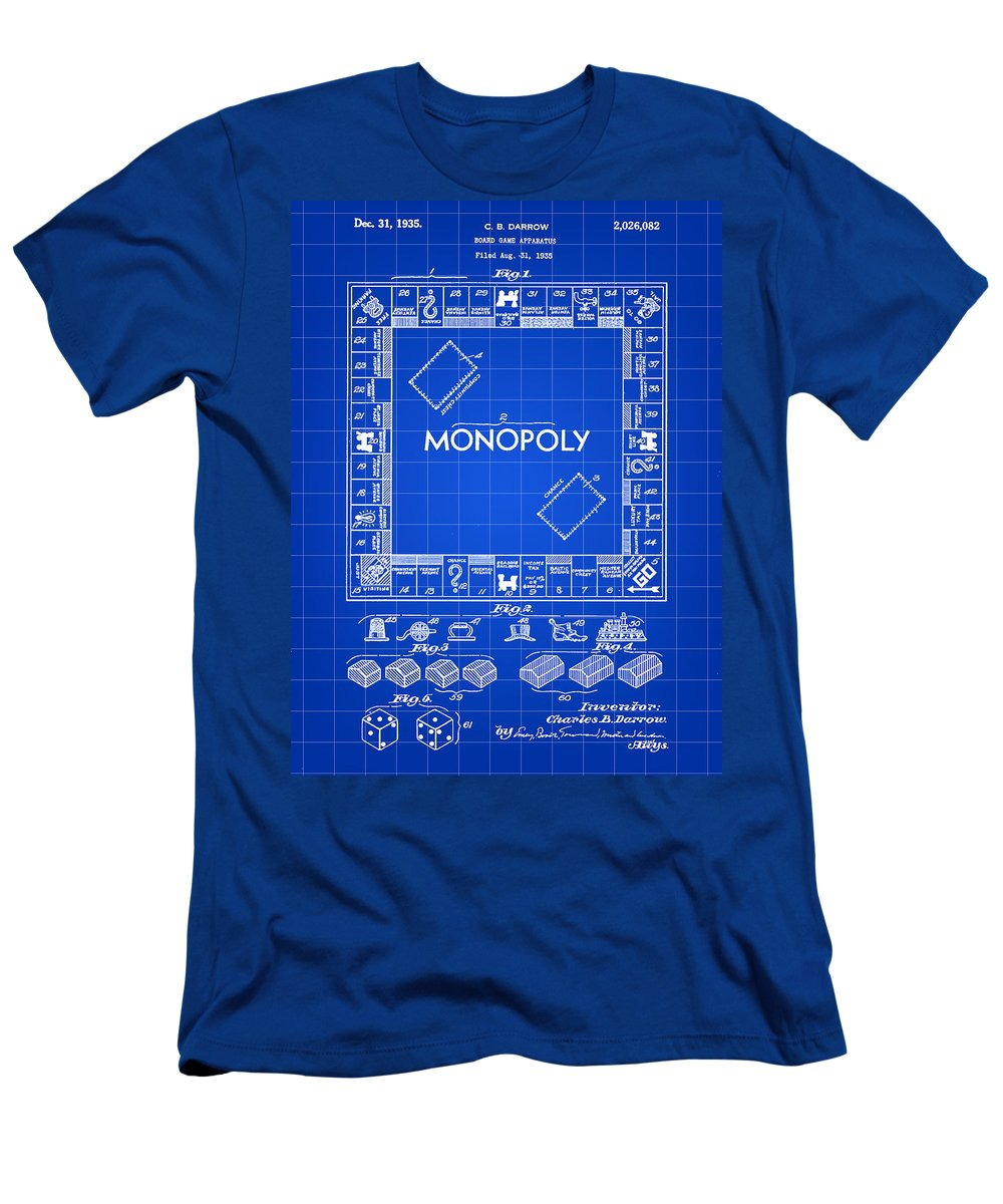 Monopoly T-Shirt featuring the digital art Monopoly Patent 1935 - Blue by Stephen Younts