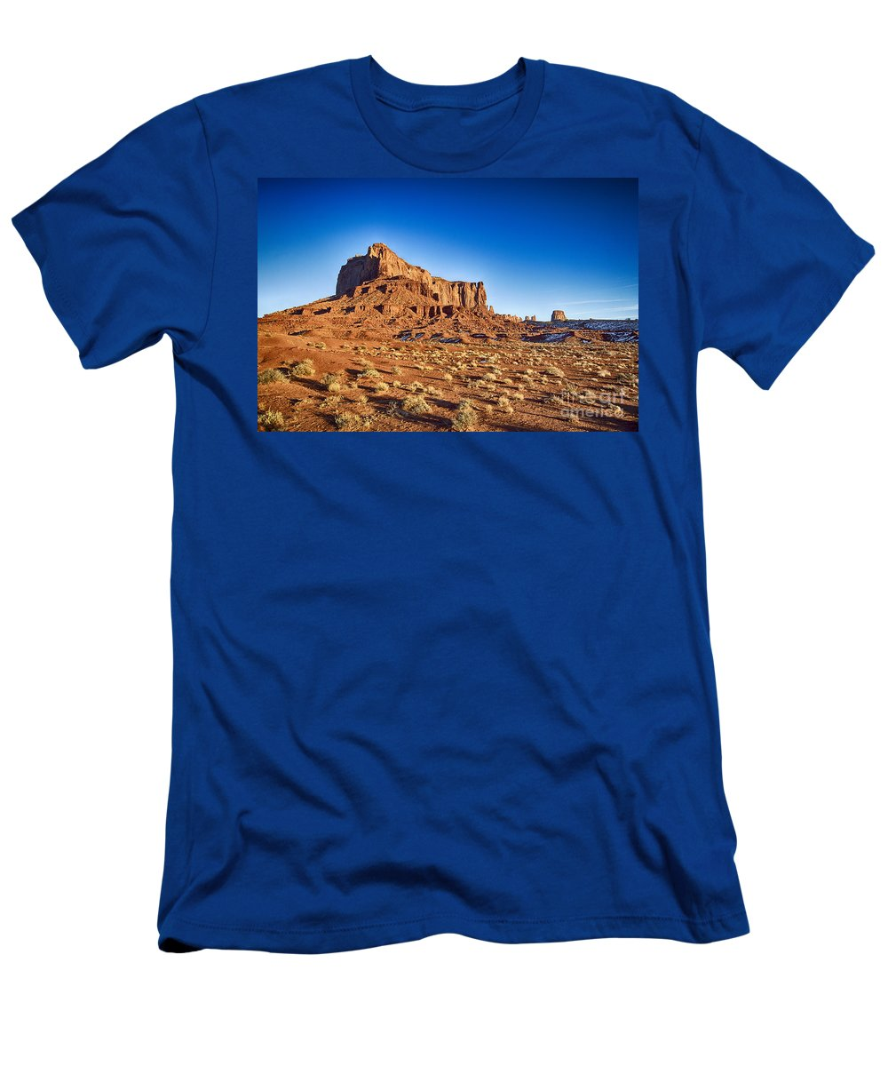Monument Valley Men's T-Shirt (Athletic Fit) featuring the photograph Monument Valley -utah V5 by Douglas Barnard