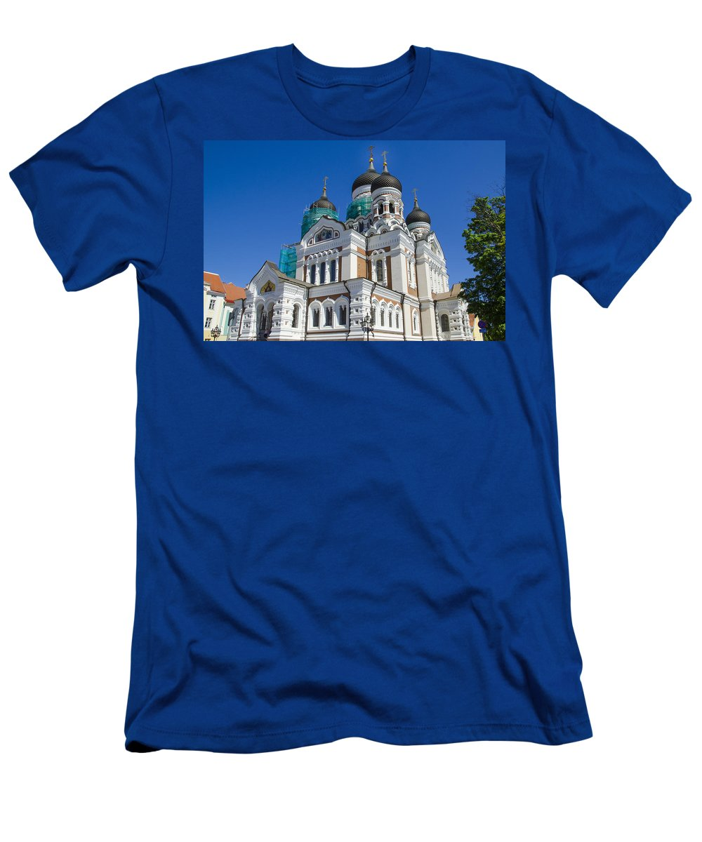 Estonia Men's T-Shirt (Athletic Fit) featuring the photograph Nevsky Cathedral - Tallin Estonia by Jon Berghoff