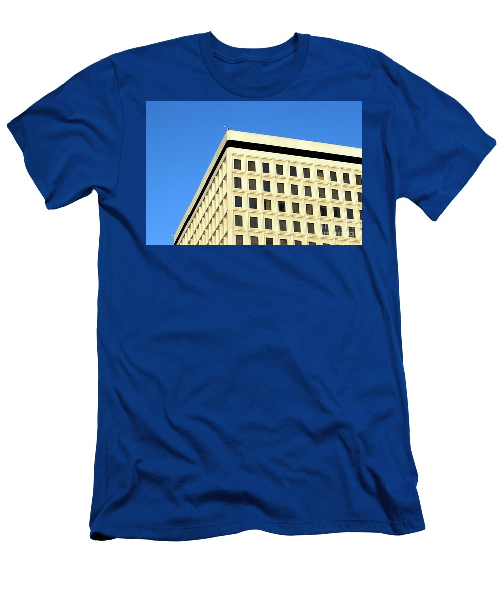 down Town Men's T-Shirt (Athletic Fit) featuring the photograph Office Building by Henrik Lehnerer