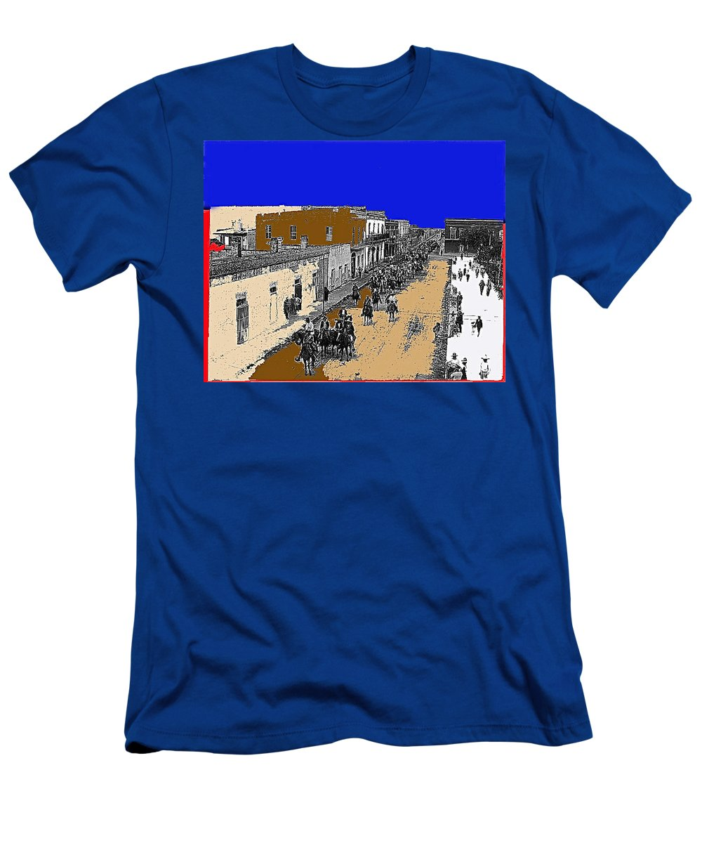 Pancho Villa Captures Juarez Chihuahua May 8 1911 Color Added 2012 Men's T-Shirt (Athletic Fit) featuring the photograph Pancho Villa Captures Juarez Chihuahua May 8 1911 Color Added 2012 by David Lee Guss