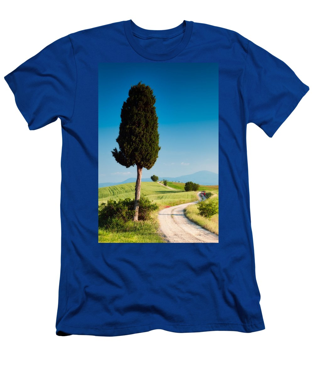 Country Lane Men's T-Shirt (Athletic Fit) featuring the photograph Stroll On Farm Road by Michael Blanchette