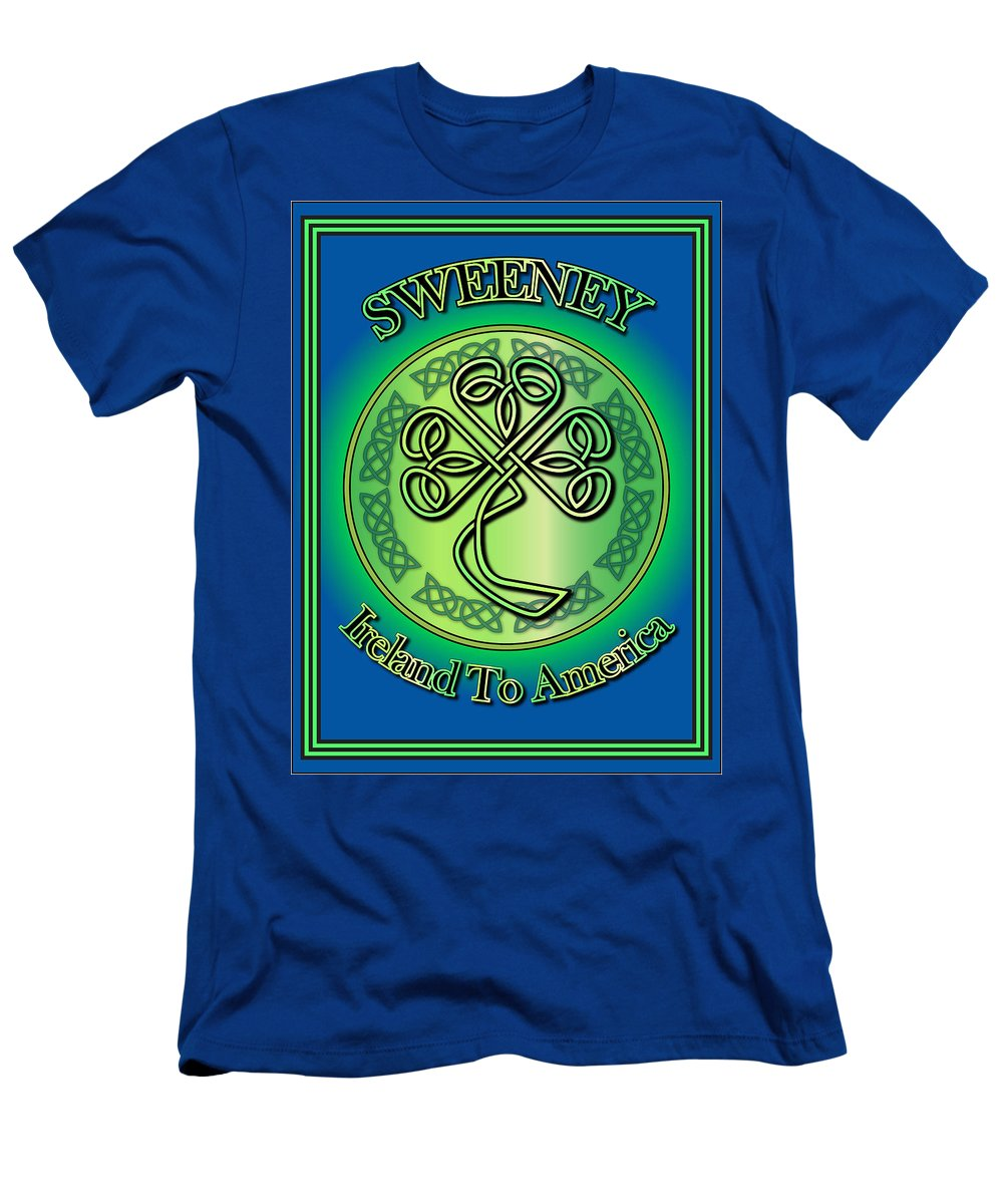 Sweeney Men's T-Shirt (Athletic Fit) featuring the digital art Sweeney Ireland To America by Ireland Calling