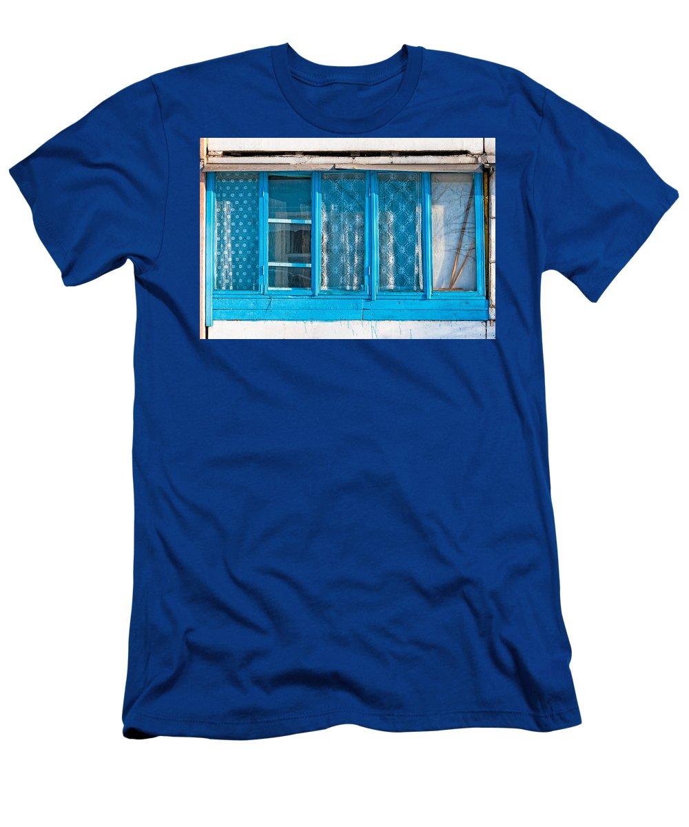 Kiev Men's T-Shirt (Athletic Fit) featuring the photograph Window Of Soviet Building by Alain De Maximy