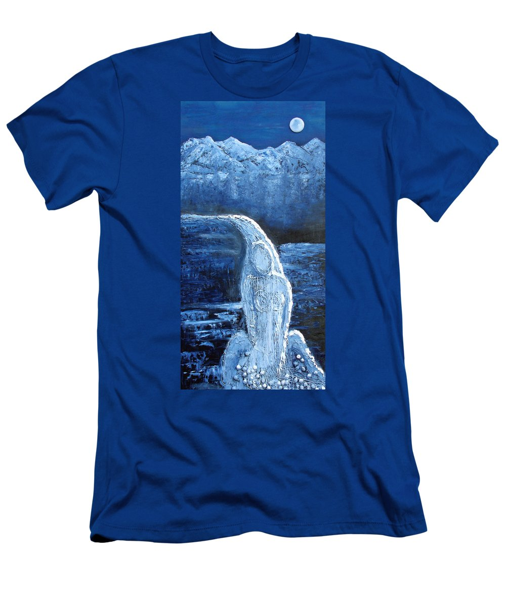 Water Men's T-Shirt (Athletic Fit) featuring the mixed media Winter Goddess by Angela Stout