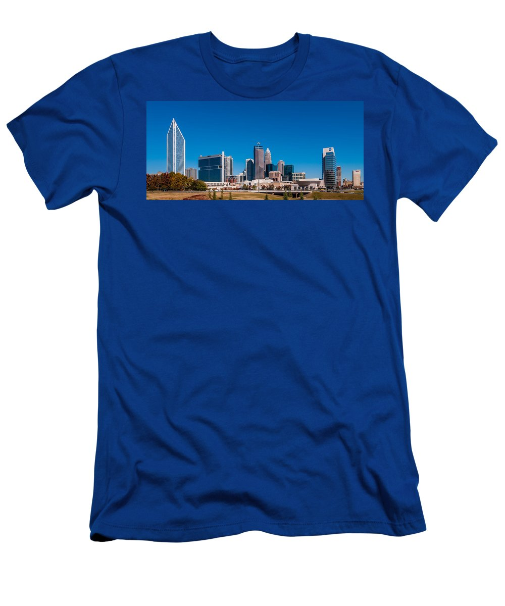 Autumn Men's T-Shirt (Athletic Fit) featuring the photograph Charlotte City Skyline Autumn Season by Alex Grichenko
