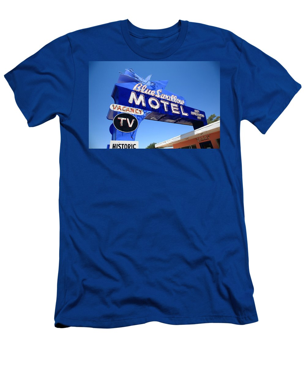 66 Men's T-Shirt (Athletic Fit) featuring the photograph Route 66 - Blue Swallow Motel by Frank Romeo