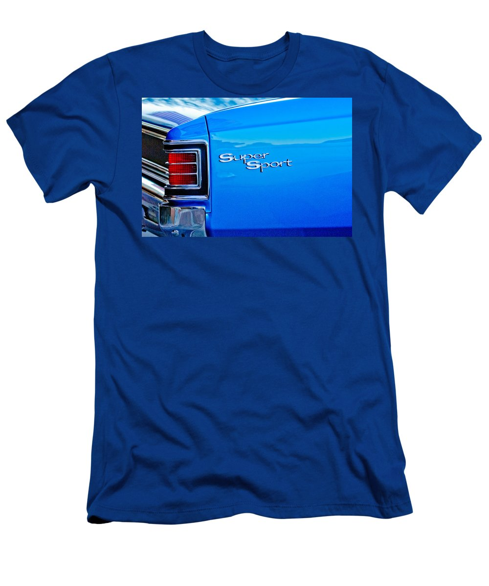 1967 Chevelle Ss Men's T-Shirt (Athletic Fit) featuring the photograph 1967 Chevrolet Chevelle Taillight Emblem by Jill Reger