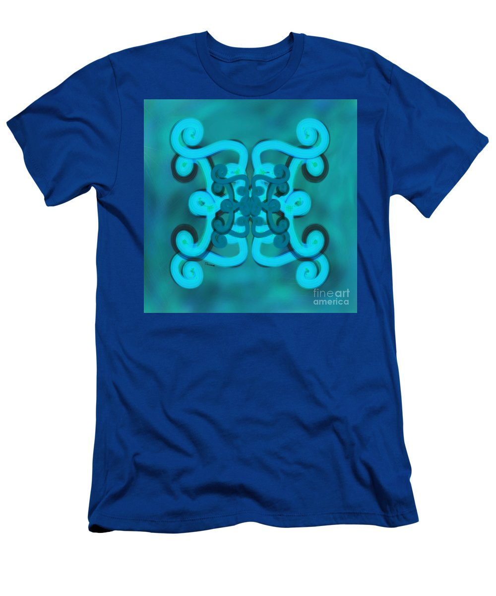 Scroll Men's T-Shirt (Athletic Fit) featuring the digital art Blue Double Scroll by Christine Fournier
