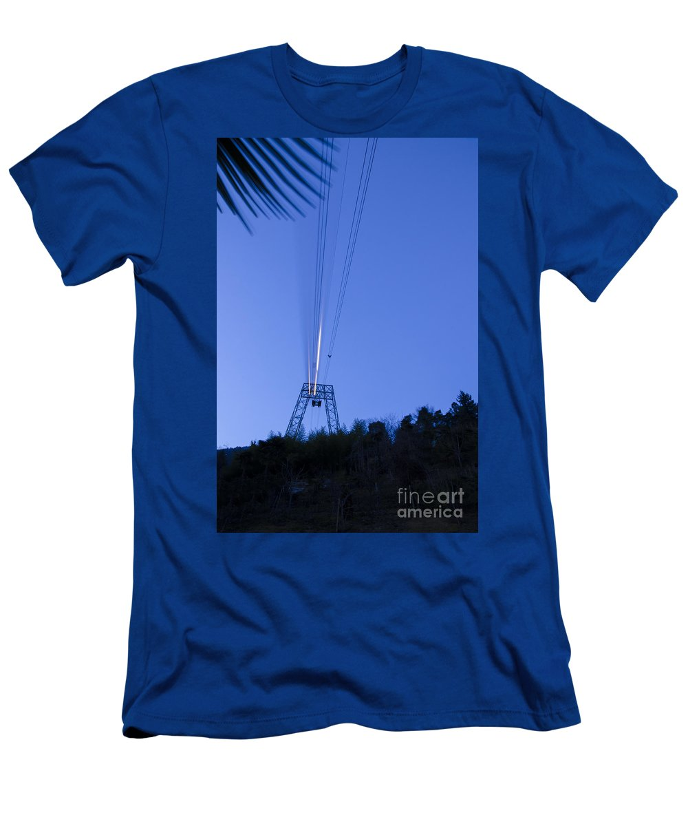 Cableway Men's T-Shirt (Athletic Fit) featuring the photograph Cableway In Long Exposure by Mats Silvan