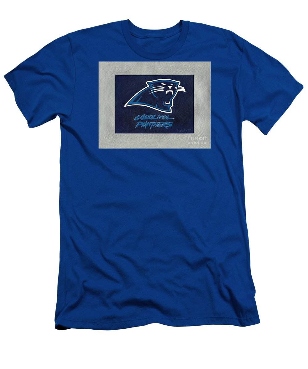 Panthers Men's T-Shirt (Athletic Fit) featuring the painting Panthers by Herb Strobino
