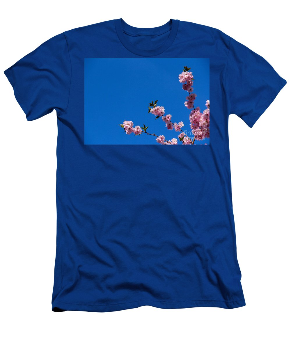 Cherry Men's T-Shirt (Athletic Fit) featuring the photograph Cherry Blossom Against Blue Sky by Kerstin Ivarsson
